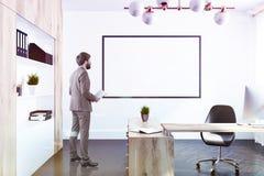 Het bureaubinnenland van de bedrijfmanager, affiche, mens Royalty-vrije Stock Afbeelding