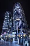 Het Bureaugebouwen van SOHO Sanlitun bij nacht, Peking, China Stock Afbeeldingen