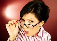 Het bureauvrouw van Nerd Stock Foto's