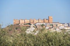 Het Burgalimarkasteel, begraaft al-Hamma, het dorp van La encina van Baños DE, J stock afbeelding