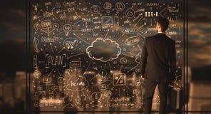 Het businessplan van de zakenmantekening stock afbeeldingen