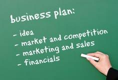 Het businessplan van op bord Stock Foto's