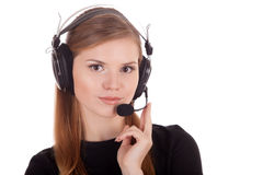 Het call centre van de exploitant in hoofdtelefoons stock afbeelding