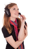 Het call centre van het personeel om met de cliënt te communiceren stock foto's