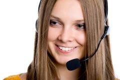 Het call centreexploitant van Cheerfull Stock Fotografie