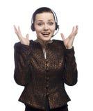 Het call centremeisje drukt emoties op wit uit stock foto's