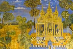 Het Cambodjaanse Muurschilderij van Royal Palace Stock Foto