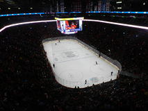 Het Canadese en Amerikaanse NHL-spel van MONTREAL, van CANADA, het stadion van de centrumklok, Nationale Hockeyliga, de arena van Stock Foto's
