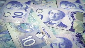 Het Canadese Tien Dollar Bankbiljetten Roteren stock videobeelden