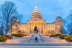 Het Capitool van de staat in Des Moines, Iowa stock afbeelding
