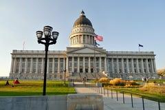 Het Capitool van de Staat van Utah bij nacht 1 Salt Lake City Stock Foto