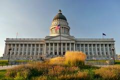 Het Capitool van de Staat van Utah bij nacht 1 Salt Lake City Stock Foto's