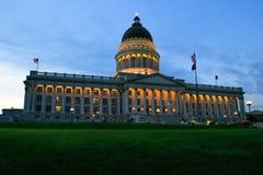 Het Capitool van de Staat van Utah met lichten, Salt Lake City Stock Afbeeldingen