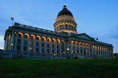 Het Capitool van de Staat van Utah met lichten, Salt Lake City royalty-vrije stock afbeelding