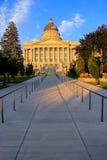 Het Capitool van de Staat van Utah met warm avondlicht, Salt Lake City Stock Foto's