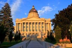 Het Capitool van de Staat van Utah met warm avondlicht, Salt Lake City Stock Afbeelding