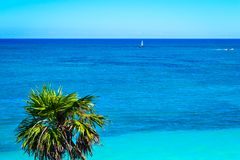 Het Caraïbische overzees - Tulum, Mexico stock foto's