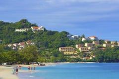 Het Caraïbische strand van Grenada, royalty-vrije stock foto
