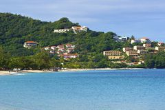 Het Caraïbische strand van Grenada, royalty-vrije stock foto's