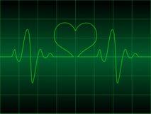 Het cardiogram van het hart met hart op het Stock Foto's