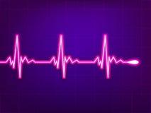 Het cardiogram van het hart op diepe fiolet. EPS 8 Stock Foto's
