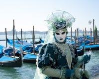 Het Carnaval-masker in blauwe tonen en gemmen Stock Afbeeldingen
