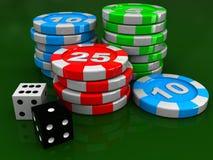 Het casino breekt af en dobbelt Stock Afbeelding