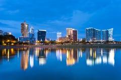 Het casino van Macao bij zonsondergang stock afbeeldingen