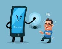 Het Cellphonekarakter hypnotiseert een mens, een Teken en een symboolillustratie Stock Foto