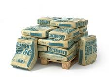 Het cement doet stapel op houten pallet in zakken Stock Foto