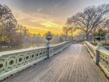 Het Central Park van de boogbrug stock afbeelding