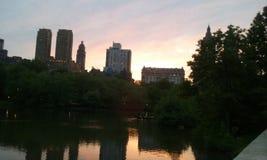 Het Central Parkzonsondergang NYC van New York royalty-vrije stock afbeeldingen