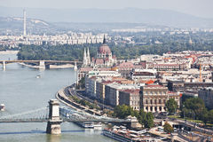Panorama van Boedapest. De mening vanaf de bovenkant Royalty-vrije Stock Foto