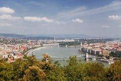 Panorama van Boedapest. De mening vanaf de bovenkant Stock Fotografie
