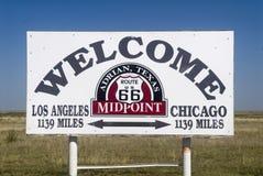 Het centrale punt langs Route 66 Royalty-vrije Stock Afbeelding