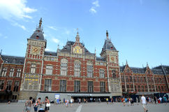 Het Centrale Station van Amsterdam Stock Afbeelding