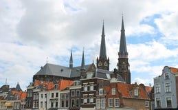 Het centrale vierkant in oud Delft. Stock Foto