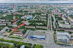 Het centrum en de winkels van TV in Tyumen Rusland Stock Fotografie