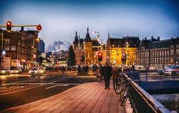 Het Centrum van Amsterdam dichtbij Centrumpost Royalty-vrije Stock Foto's