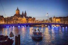 Het Centrum van Amsterdam dichtbij Centrumpost Stock Foto