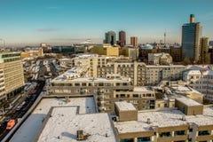 Het centrum van Berlijn onder sneeuw Stock Foto