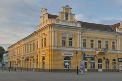 Het Centrum van de Berehovestad Zakarpattia, de Oekraïne stock foto's