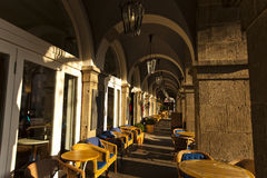 Het centrum van de Koblenzstad Cafeelijsten stock afbeeldingen