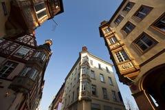 Het centrum van de Koblenzstad Oude huizen stock foto