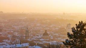 Het centrum van de Lvivstad Stock Afbeeldingen