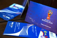 Het Centrum van de het Trefpuntetikettering van FIFA, Moskou, Rusland - April 2018 Royalty-vrije Stock Foto's