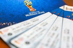 Het Centrum van de het Trefpuntetikettering van FIFA, Moskou, Rusland - April 2018 Stock Afbeeldingen