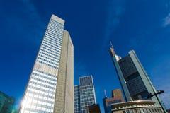 In het centrum van het financiële district in Frankfurt, Duitsland Stock Foto