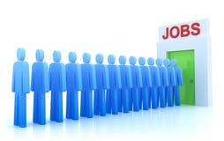 Het Centrum van het werk: De werklozen die een baan zoeken Stock Foto's