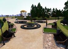 Het centrum van het park in de vorm van triskelion, Keltisch patroon, mensen op de banken, een fontein en struiken stock illustratie